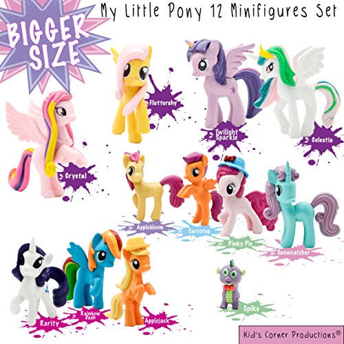 Kids Corner Productions® - My Little Pony Party Bag Conjunto de 12 mini figuras, figuras lindas de Pinky Pie, Rainbow Dash, Rarity con Spike y muchas más figuras mágicas