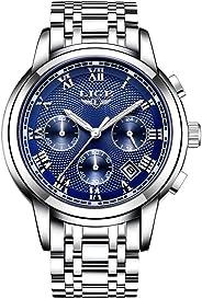 Anself LIGE Stainless Steel Business Watch Men Sports Quartz Watch Multi-Functional Fashion Luxury Wristwatch