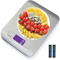 Bilancia da Cucina Smart Digitale con Funzione Tare 5kg 11 lbs Acciaio Inox Bilancia Elettronica per la Casa e la Cucina con 5 Measuring Units e Precisione 1g Bianca  2 Batteries Incluse