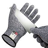 Eyoo Schnittschutz-Handschuhe (1 Paar) - Extra Starker Level 5 Schutz, EN-388 Zertifiziert, Lebensmittelecht – Hochwertig und Leicht, für Küche Gartenbau Baustelle Schutzhandschuhe Einsatzhandschuhe (Large)