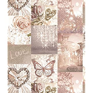 Arthouse Love Paris Blush Wallpaper 691107 - Glitter Butterfly Heart Love Rose