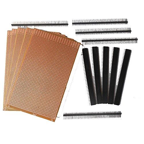 Generic B00C743253 Component 7 General Purpose Printed Circuit Board, 5 Pieces + Female Berg Strip, 5 Pieces + Male Berg Strip, 5 Pieces