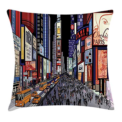 GONIESA Cities of States Throw Pillow Cushion Cover, Colorful Downtown New York Illustration with Comic Book Art Style Broadway, Decorative Square Accent Pillow Case, 18x18 Inch/45cmx45cm, Multicolor (Club New Party York Halloween)