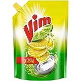 Vim Dishwash Liquid Gel Lemon, With Lemon Fragrance, Leaves No Residue, Grease Cleaner For All Utensils, 900 ml Refill Pouch