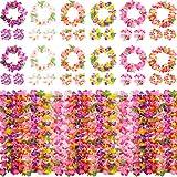 12 Set Colorato Luau Hawaiano Corona di Fiore Ghirlande Braccialetti Fascia Set per la Decorazione Festa Luau Forniture