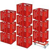 10 Stapelkörbe, Euro-Format LxBxH 600 x 400 x 410 mm, Industriequalität, lebensmittelecht, rot + GRATIS Transportroller