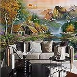 Pmhhc Benutzerdefinierte Wandbild Vliestapete Berg Wasser Kleines Chalet Natur Landschaft Ölgemälde Leinwand Schlafzimmer Wohnzimmer Wand-Dekor-120X100Cm