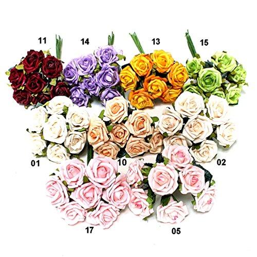 Röschen Bund, Foam- Schaum- Rosen, 4,5cm/ Bund = 7 Blüten/ div. Farben