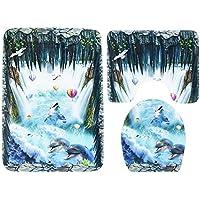 MEI Alfombrillas Alfombras antideslizantes Juegos de tres piezas de baño Alfombras Conjuntos de tres piezas Alfombrillas de baño Alfombrillas de baño Funda de polvo Funda de inodoro