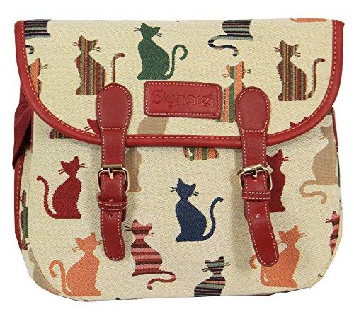 Signare sac de messager sac à main d'épaule tapisserie mode femme chat malicieux