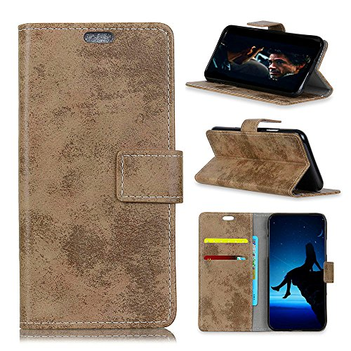 Casefirst HTC U12 Plus Flip Cover, Case, Protects Card Slot [Stand Feature] Leather Wallet Case Vintage Book Style Magnetic Protective Cover Holder for HTC U12 Plus - Khaki Htc Touch Defender Case