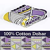 Divine Casa 100% Cotton Reversible Youth Blanket/Duvet Easyweight, AC Single DOHAR, Abstract- Purple