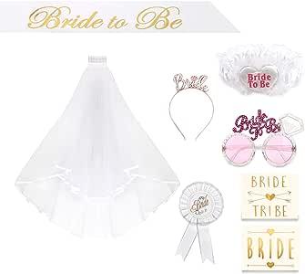Mariée à être Blanc Rosette Badge Jarretière écharpe Veil Hen Night Bachelorette Party ne