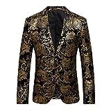 Domybest Herren Floral Anzug Bronzing Revers Slim Fit Formale Business Blazer (Gold/XL)