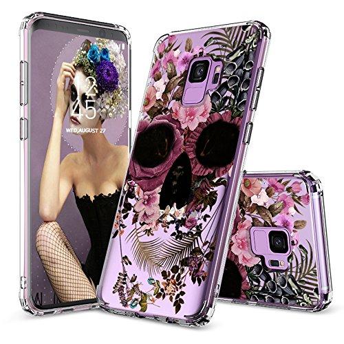 MOSNOVO Galaxy S9 Hülle, Blühen Blumen Schädel Muster TPU Bumper mit Hart Plastik Hülle Durchsichtig Schutzhülle Transparent für Samsung Galaxy S9, Galaxy S9 Case (Skull Floral)