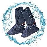 Lange Regenüberschuhe, 2win2buy Wasserdichte Überschuhe Rutschfester Schuhüberzieher Schnee Staub Öl Regen Schutz. Perfekt für Outdoor Aktivitäten Camping Radfahren Bergsteigen, Schwarz XL
