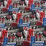 Stoff Meterware Baumwolle London Underground Metro England
