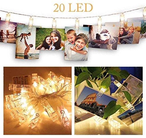 LED Lichterkette,20LED Fotoclips Lichterketten,3.2meter,Batteriebetrieben,Stimmungsbeleuchtung Dekoration,ideal für Festival,Weihnachten,Valentinstag,Hochzeit oder Abendessen bei Kerzenschein Dekoration,hängende Bilder,Notizen,Artwork,Memos(Warmweiß)