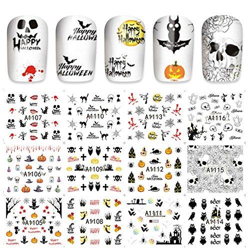 Nail Art Transferfolie Aufkleber Halloween Knochen Polnischen Aufkleber Maniküre Dekoration Zubehör 4 Arten(#3)