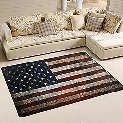 Naanle USA-Flagge im Retro-Look, Rutschfest, für Wohnzimmer, Schlafzimmer, Küche, 50x 80cm (2x 2,6m, Sterne und Streifen, Teppich, Yoga-Matte, Multi, 120 x 180 cm(4' x 6')