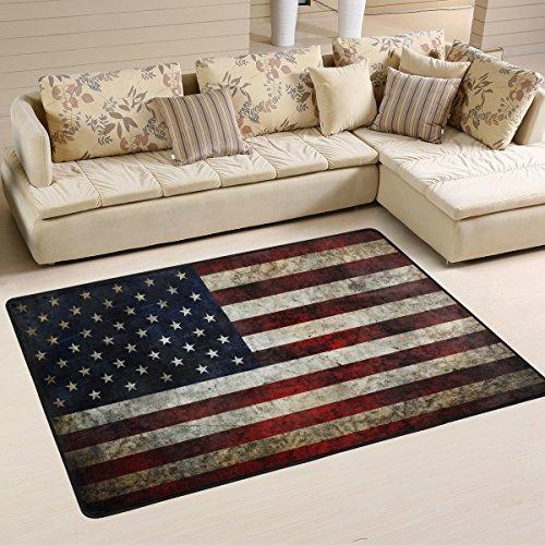 Naanle USA-Flagge im Retro-Look, Rutschfest, für Wohnzimmer, Schlafzimmer, Küche, 50x 80cm (2x 2,6m, Sterne und Streifen, Teppich, Yoga-Matte, Multi, 60 x 90 cm(2' x 3') -