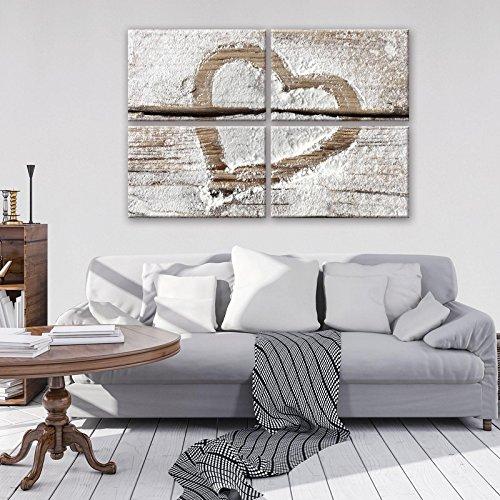 FORWALL Leinwandbild Wandbild Herz auf Holz Bild Canvas S10 (120cm. x 80cm. (4x60x40)) AMFPS11789S10 -