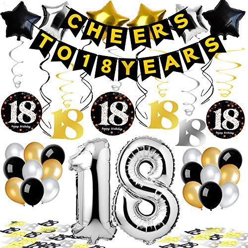 Puselo 18. Geburtstag Dekorationen, Cheers to 18 Years Banner Party Zubehör Set & Dekorationen Folienballons Geburtstag - Gold, Silber & Schwarz Latex-Ballon-Dekoration für alle Erwachsenen geeignet