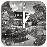 Ginkaku-ji-Tempel in Kyoto Kunst Kohle Effekt, Wanduhr Durchmesser 28cm mit schwarzen eckigen Zeigern und Ziffernblatt, Dekoartikel, Designuhr, Aluverbund sehr schön für Wohnzimmer, Kinderzimmer, Arbeitszimmer