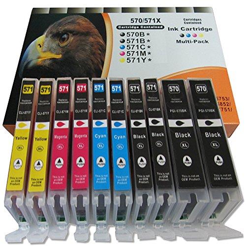 ESMOnline 10 komp. XL Druckerpatronen für Canon PGI-570 CLI-571 Canon Pixma MG5750 MG6850 MG7750 / TS5050 TS5051 TS5053 TS5055 TS6050 TS6051 TS6052 TS8050 TS8051 TS8052 TS8053 TS9050 TS9055