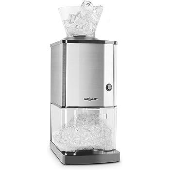 oneConcept Icebreaker • Ice crusher • 15 kg/h • 3,5 litri (circa 1,75 kg) veschette di ghiaccio • Interruttore di sicurezza • compatto • facile da pulire • corpo in acciaio inossidabile • argento
