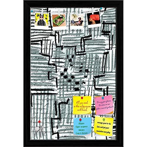 Artzfolio Abstract Center Printed Bulletin Board Notice Pin Board | Black Frame 12 X 18.1Inch -