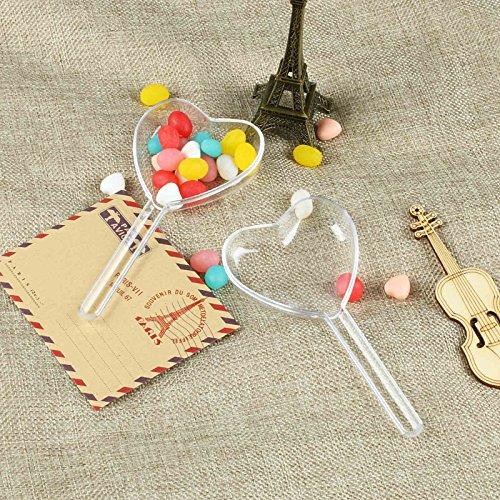 vLoveLife, Geschenkbox, herzförmig mit Stiel, Kunststoff, ideal für Hochzeit / Babyparty / Geburtstag, Rosa, 12 Stück, plastik, durchsichtig, 5'' x 2.4'' x 1.2'