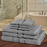 QAISIRIA 6 x piece towel bales set egyptian cotton Super Soft Luxury Ringspun Hotel Quality Extra Absorbent Hand,Face and Bath Towels Sets