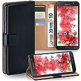 moex Samsung Galaxy J7 (2016) | Hülle Schwarz mit Karten-Fach 360° Book Klapp-Hülle Handytasche Kunst-Leder Handyhülle für Samsung Galaxy J7 2016 Case Flip Cover Schutzhülle Tasche