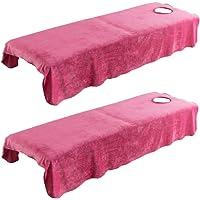 F Fityle 2x Housses de Table de Massage Serviette pour Lit Massage Spa, Russet