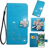 Smarit LG Q7 Wallet Multi Card Holder Back Shell Skins Folio PU Leather Cover with Skins Case for LG Q7 - Blue