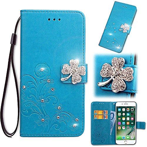 Artfeel Leder Brieftasche Hülle Blau für LG stylo4, LG Q Stylus Flip Geprägt Blume Handyhülle Luxus Diamant Magnetverschluss Abdeckung mit Handschlaufe/Kartenfächer/Stand -