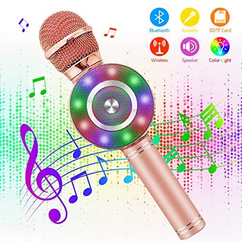bluetooth Karaoke Mikrofon, NASUM LED Mikrofon kabellos mit Lautsprecher, für die Aufnahme von Sprach&Gesang, für Party, Podcast, Familie, Multifunktion, kompatibel mit Android/IOS