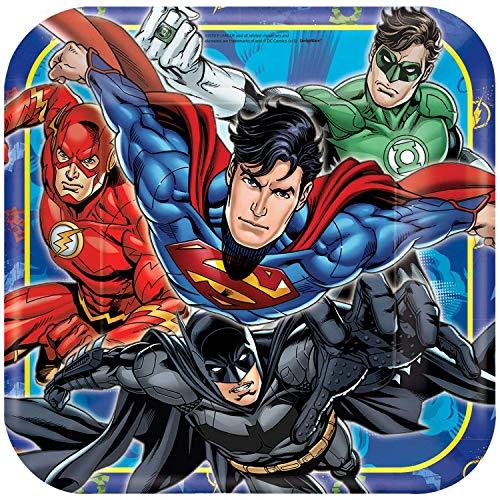 61RqB4y9rHL - Justice League Party DC Suministros Niños Fiesta de cumpleaños Vajilla Platos Tazas Servilletas Mantel con Paquete de Globos Gratis y Velas para 16 Invitados
