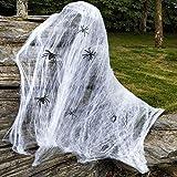 Lictin 52 pcs Decoración de Araña de Halloween- Juego de Decoración de Fiesta de Halloween,50 pcs de Araña ,1 Decoración de Tela de Araña Retráctil (200g), 1 Pegatina de Ventana de Mano Sangrienta