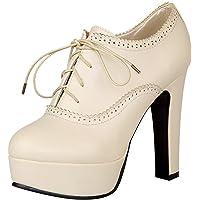 Jamron Donna Vintage Piattaforma Alta Tallone di Blocco Scarpette Elegante Brogue Oxfords/Derby Allacciare