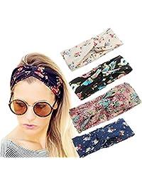 ZYCC Femmes Headband Boho Floral Cheveux Croisés Enveloppement Elastic Hair Bands Lot de 4