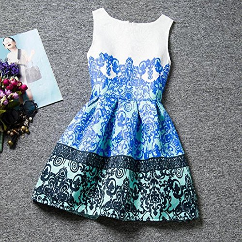 Vovotrade Sommer-Kleid-Sleeveless gedrucktes Big Size Dress Teenager-Kind-Kleidung Blau
