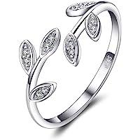 JewelryPalace Anelli Donna Argento 925, Foglia di Olivo Anelli Donna Regolabili, Diamante Simulato Zirconi Anniversario…