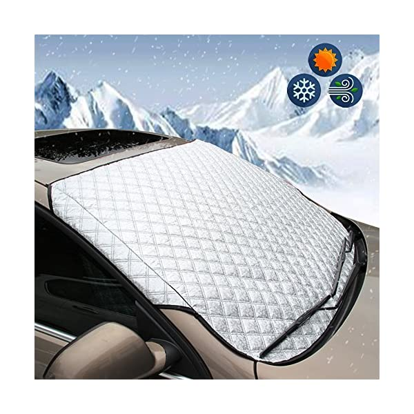 BEEWAY Car Windshield Cover, Heavy Duty Ultra Thick Protective Windscreen Cover - Snow Ice Frost Sun UV Dust Water…