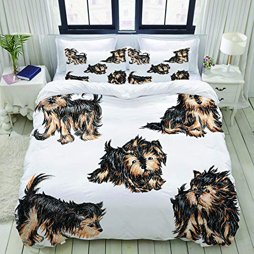 HARXISE Bettwäsche - Bettwäscheset Welpen der Rasse EIN Yorkshire-Terrier Multicolor Bettbezug Kissenbezug Set Bettbezug 135 * 200cm, Kissenbezug 80 * 80CM * 2 -