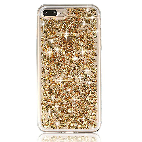 Sunroyal® Etui Transparent pour Apple iPhone 7 Plus (5.5 pouces) Bling TPU Gel Coque Ultra Mince Paillette Case Cover Telephone Portable Soft Housse Cas Prime Flex Silicone Skin Protection Shell Coqui Bling-Gold