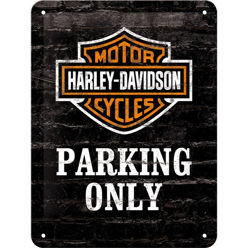 Targa di metallo 15 x 20 cm - Harley-Davidson Parking Only