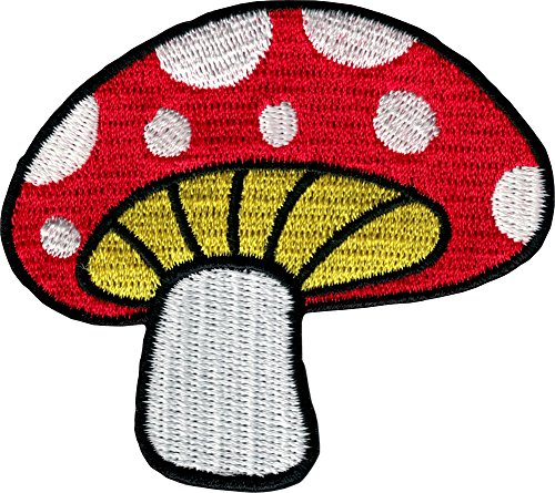 Square Deal Recordings & Supplies Eisen auf Patch Bestickt Patches Anwendung Pilz Magic Psylo Rot mit Weiß Spots