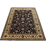 Orientteppich Wohnzimmer Klassische Optik Orientalisch Ornamente Schwarz Beige, Maße:80x150 cm